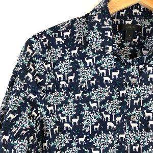 J Crew Woodland Deer Popover Shirt Navy Holiday 8